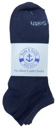 48 Bulk Yacht & Smith Mens 97% Cotton Light Weight No Show Ankle Socks Solid Navy