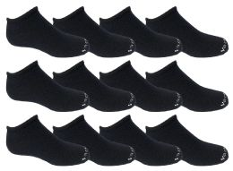 60 Bulk Yacht & Smith Kids 97% Cotton Light Weight No Show Ankle Socks Solid Navy Size 6-8