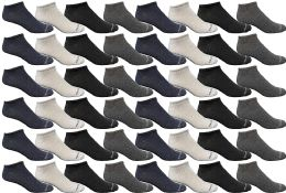 48 Bulk Yacht & Smith Wholesale Men's Cotton Shoe Liner Training Socks Size 10-13 (assorted, 48)