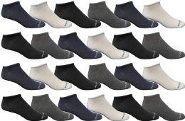 24 Bulk Yacht & Smith Wholesale Men's Cotton Shoe Liner Training Socks Size 10-13 (assorted, 24)
