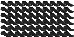 60 Bulk Yacht & Smith Mens 97% Cotton Light Weight No Show Ankle Socks Solid Black