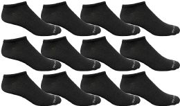 24 Bulk Yacht & Smith Mens 97% Cotton Light Weight No Show Ankle Socks Solid Black