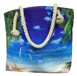 24 Bulk Nautical Rope Large Beach Tote Bag With Inner Pocket , Assorted Summer Prints
