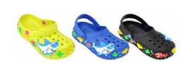 36 Bulk Toddlers Clogs With Printed Sharks