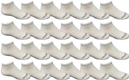 24 Bulk Yacht & Smith Unisex 97% Cotton Shoe Liner Training Socks Size 6-8, No Show Thin Low Cut Sport Ankle Socks White