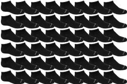 48 Bulk Yacht & Smith Unisex 97% Cotton Shoe Liner Training Socks Size 6-8, No Show Thin Low Cut Sport Ankle Socks Black