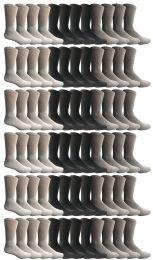 72 Bulk Yacht & Smith Men's Cotton Sports Crew Socks, Assorted Colors Size 10-13 Bulk Pack