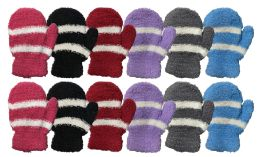 36 Bulk Yacht & Smith Kids Striped Fuzzy Mittens Gloves Ages 2-7