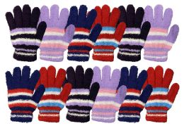 36 Bulk Yacht & Smith Womens Warm Assorted Colors Striped Fuzzy Gloves