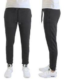 24 Bulk Men's Heavyweight SliM-Fit Fleece Cargo Sweatpants Assorted Sizes Solid Black