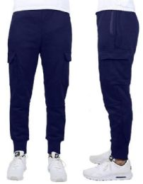 24 Bulk Men's Heavyweight SliM-Fit Fleece Cargo Sweatpants Assorted Sizes Solid Navy
