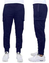 24 Bulk Men's Heavyweight SliM-Fit Fleece Cargo Sweatpants Assorted Sizes Solid Navy
