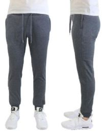 24 Bulk Men's Heavyweight SliM-Fit Fleece Cargo Sweatpants Assorted Sizes Solid Grey