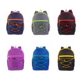 24 Bulk Bungee Backpacks In 6 Assorted Colors