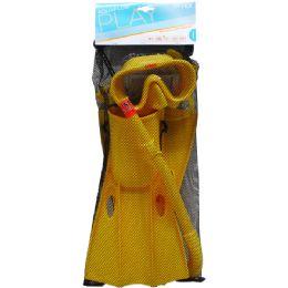 """6 Bulk 14.5"""" Snorkel, 6.5"""" Mask, & 13.5"""" Swim Fins In Net Bag, 8+"""