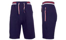 24 Bulk Men's Fleece Lounge Sweat Shorts With Zipper Pockets & Trim Tech Design Solid Navy