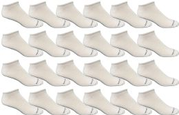 24 Bulk Yacht & Smith Men's Light Weight Breathable No Show Loafer Ankle Socks Solid White