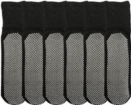 6 Bulk Yacht & Smith Womens Loose Fit Gripper Bottom Diabetic NoN-Skid Slipper Black Socks, Grippy Hospital Sock, Size 9-11