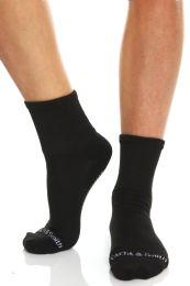 60 Bulk Yacht & Smith Womens Loose Fit Gripper Bottom Diabetic NoN-Skid Slipper Black Socks, Grippy Hospital Sock, Size 9-11