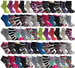 120 Bulk Yacht & Smith Womens Low Cut, No Show Ankle Footie Casual Sock Fun Socks Assorted Printed Ankle Socks Size 9-11