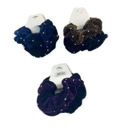 120 Bulk 2 Piece Velvet Scrunchie With Rhinestones