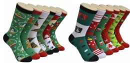 360 Bulk Assorted Printed Christmas Crew Socks