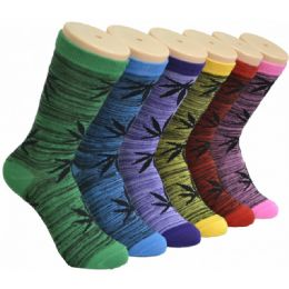 360 Bulk Ladies Weed Printed Crew Socks Size 9-11
