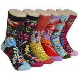 360 Bulk Ladies Colorful Printed Crew Socks Size 9-11