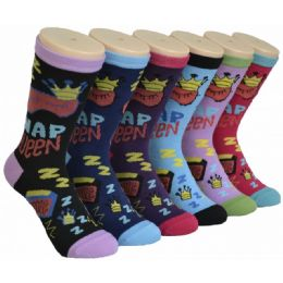 360 Bulk Ladies Lounge Printed Crew Socks Size 9-11