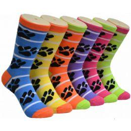 360 Bulk Ladies Paw Print Crew Socks Size 9-11