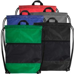48 Bulk 18 Inch Drawstring Bag Large Zippered Section - 5 Colors
