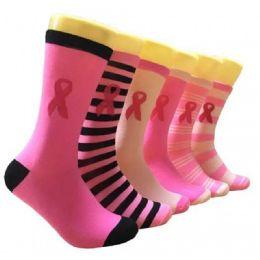 360 Bulk Ladies Pink Ribbon Crew Socks Size 9-11
