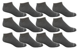 12 Bulk Yacht & Smith 97% Cotton Men's Light Weight Breathable No Show Loafer Ankle Socks Solid Gray