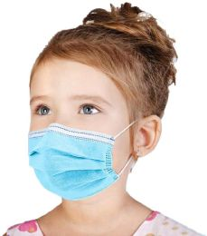 50 Bulk Disposable Kids 3ply Solid Blue Face Mask For Health Protection