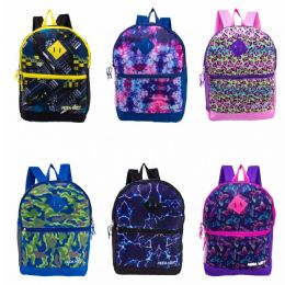 "24 Bulk 17"" Backpacks With Side Mesh Water Bottle Pocket In 6 Assorted Prints"
