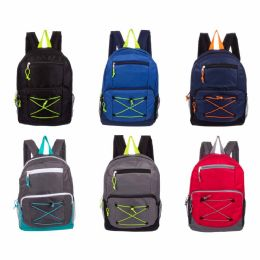 """24 Bulk 17"""" Backpacks With Bungee Design"""