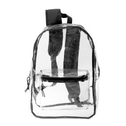"24 Bulk 17"" Kids Clear Backpacks In Black"