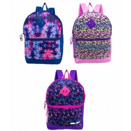 "24 Bulk 17"" Backpacks With Side Mesh Water Bottle Pocket In 3 Prints"