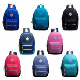 """24 Bulk 17"""" Backpacks With Dual Front Zipper Pockets In 8 Assorted Colors"""