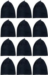 60 Bulk Yacht & Smith Warm Fleece Beanie Face Cover And Scarf With Adjustable Strap , Solid Black