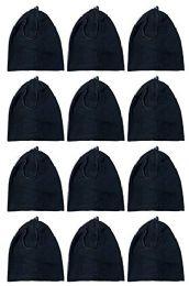 12 Bulk Yacht & Smith Fleece Unisex Warm Neck Warmer Scarf, Wholesale Bulk Winter Gear (12 Pack Fleece Black)