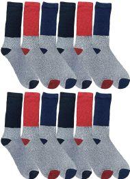 12 Bulk Yacht & Smith Thermal Diabetic Crew Socks For Women, Marled, Ringspun Cotton, Seamless Toe, Loose Top