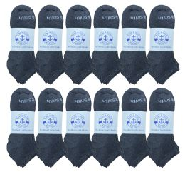 240 Bulk Yacht & Smith Mens 97% Cotton Comfortable Lightweight Breathable No Show Sports Ankle Socks, Solid Gray Bulk Buy
