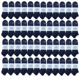 48 Bulk Yacht & Smith Low Cut Socks Comfortable Lightweight Breathable No Show Sports Ankle Socks, Solid Navy