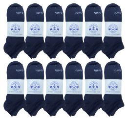 240 Bulk Yacht & Smith Mens Comfortable Lightweight Breathable No Show Sports Ankle Socks, Solid Navy Bulk Buy