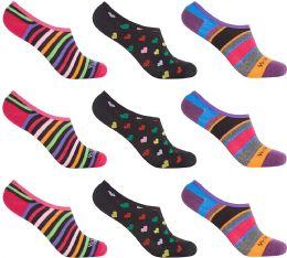 12 Bulk Women's Mesh No Show/silicone No Slip Loafer Sock Liner (asst Prints)