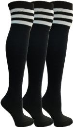 3 Bulk Yacht & Smith Womens Over The Knee Socks Referee Style Thigh High Socks Style 3 Pairs Black Striped