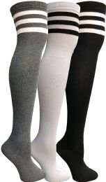 3 Bulk Yacht & Smith Womens Over The Knee Socks Referee Style Thigh High Knee Socks Striped Black, White And Gray