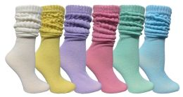 6 Bulk 6 Pack Yacht & Smith Womens Cotton Slouch Socks, Womans Knee High Boot Socks (asst Pastel)