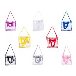 """24 Bulk 12"""" Pvc Clear Tote Bag In Assorted Colors"""
